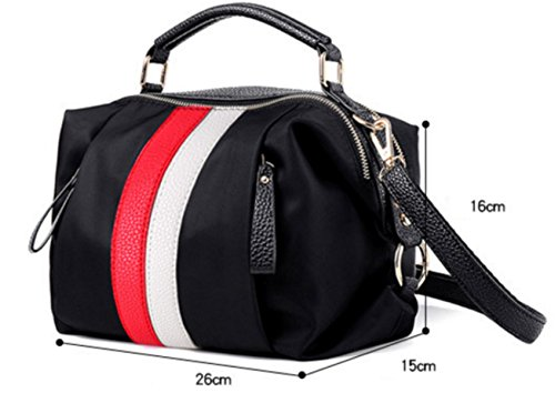 FZHLY A Strisce Modo Delle Signore Oxford Tessuto Coreana Nylon Impermeabile Messenger Bag,Red Red