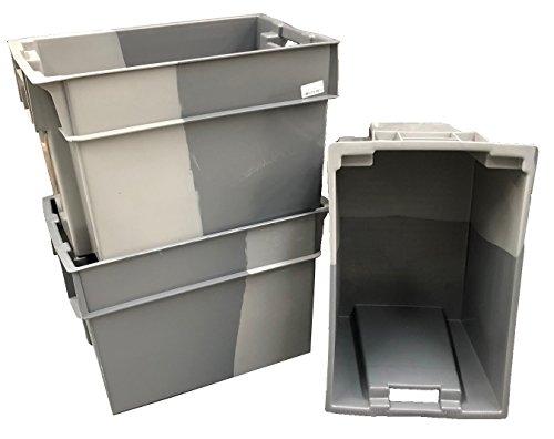 Grau-stack (10x 70Liter Grau Deep Stack/Nest 180º Kunststoff Aufbewahrungsbox Container Box Tote-600x 400Euro stapelbar/nestbar Industrieller Stärke (10Stück))