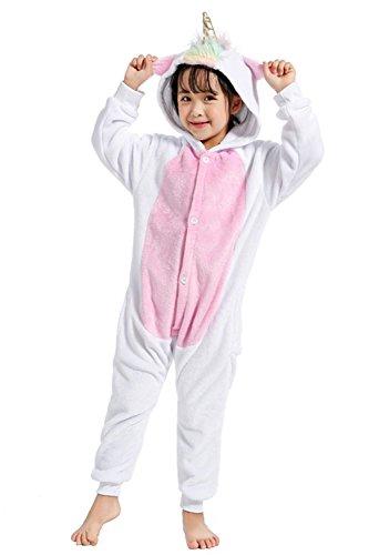 fanzug Einhorn Pyjama Tier Overall Tierkostüme Halloween Kostüme Cosplay Jumpsuit Weihnachten Karneval Party Verrücktes Kleid für Mädchen Jungen Baby (85 for 90-104cm, Gold Horn) ()