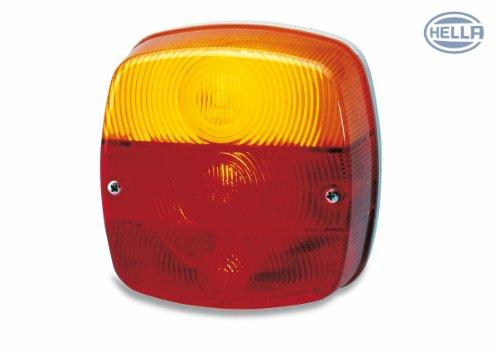 Hella 2SE 002 578-701 Heckleuchte, Schluss-Brems-Blink-Kennzeichenleuchte für waagerechten Anbau links/rechts mit Lampenträger, rot/gelb/weiß