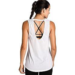 Meliwoo - Camiseta Yoga Tirantes Prendas Deportivas Para Mujer Blanco M