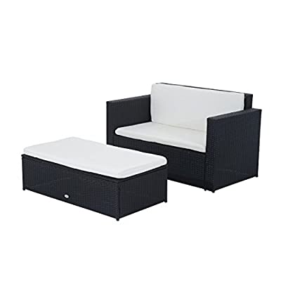 Outsunny® Poly-Rattan Lounge Bank Gartenmöbel Gartenset Garnitur 5 tlg. Schwarz 2-Sitzer Sofa inkl. Kissen