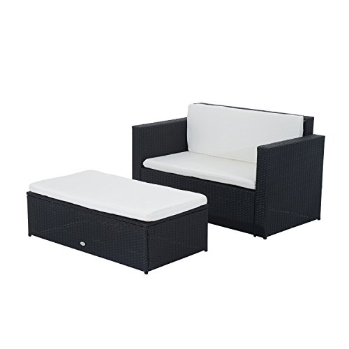 Outsunny Poly-Rattan Lounge Bank Gartenmöbel Gartenset Garnitur 5 tlg. Schwarz 2-Sitzer Sofa inkl. Kissen
