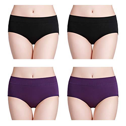 wirarpa Pantys Damen Baumwolle Unterhosen 4er Pack Frauen Unterwäsche Elastan Panties Schwarz, Lila Größe XL
