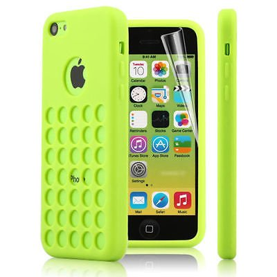 2010Kharido Green Tpu Silicone Back Case Cover For New Apple Iphone 5C Retro Dots Hole