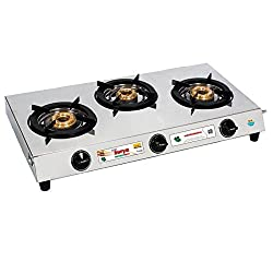 Golden Surya Stainless Steel Triple Cook 3 Burner Gas Stove, Silver