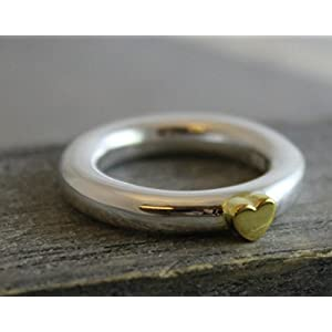 Sterling Silber 925 gemischte Metalle Band mit Gold Plated Heart Ring