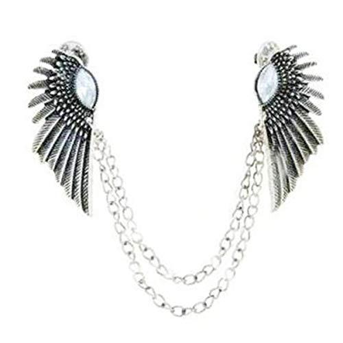 Winwinfly Vintage Hemdkragen Pin Kragen Clip Kette Engel Flügel Tipps Pin Brosche Quaste Für Frauen Zubehör,Uraltes Silber