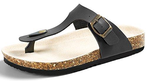 SANDALUP Pantoletten Damen Zehentrenner Sandalen Sommer Schuhe Schwarz 39