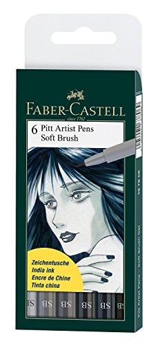 Faber-Castell 167806 - Tuschestift Pitt artist pen SB, 6er Set (Artist Color-stifte)