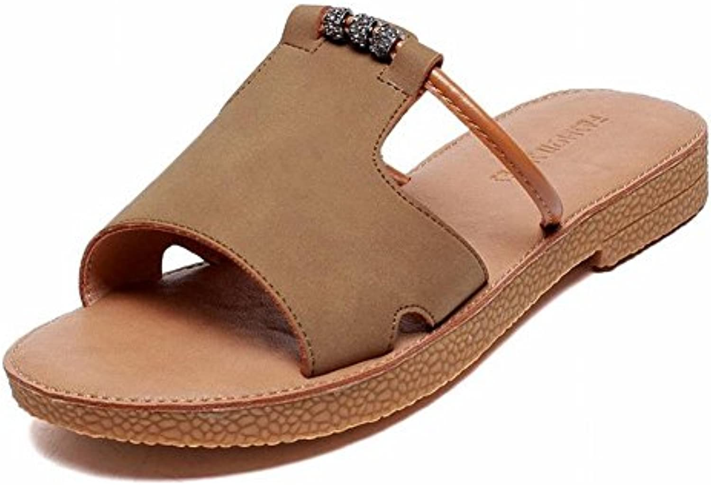 TYERY Sandalias Femeninas de Color Puro Lazy Outfitters Sandalias Slender Toe, Caqui, 35