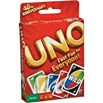 "One of the classic card games, the Uno Card Game from Mattel is the easy to follow game that kids can't wait to play! The rules of the Uno Card Game are simple: each player receives 7 cards in their hand while the remaining cards become the ""draw"" pi..."