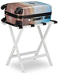 Relaxdays Kofferständer klappbar, aus Bambus, für Koffer und Reisegepäck, Gepäckablage, HxBxT: 53,5 x 58 x 36,5 cm, weiß