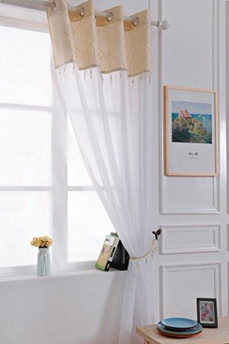 X 1Jewel Quaste Perlen Öse Ring Top Sheer Voile weiß Vorhang Panel gratis Raffhalter-Golden Ivory-149,9cm W x 182,9cm D-Vorhänge zu Hause -