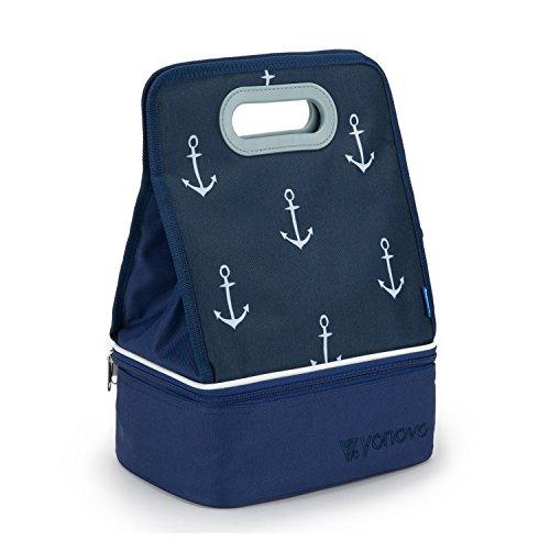 YONOVO Isolierte Mittagessen Tasche Lunch Bag Kühltasche mit Doppelschicht Essen Grad Fächern für Arbeit Büro Schule Outdoor, Freier Behälter (Kreis-Blau) Große Mittagessen-tasche Mit Fächern
