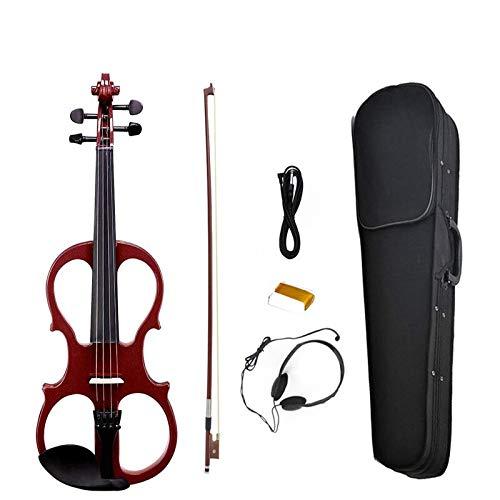 XUJJA Volle Größe elektrische Violine Silent Massivholz dunkelrot Geige Violine mit Ebenholz Teile-High Level Preamp W / Case KIT hoher Qualität XUJJA