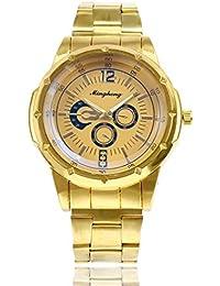 Armbanduhr Herren Uhren Edelstahl Männer Elegant Chenang Wasserdicht Datum Kalender Goldene Uhr Unisex Business Mode Kleid Analog Quarz Armbanduhr Luxusuhr-Mode-Edelstahl-Uhr (Gold)