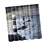 Alcoa Prime Water-resistant Fabric Bathroom Shower Curtain Liner Hook Lighthouse Pattern