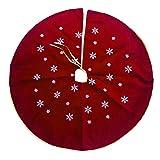 Milnut Weihnachtsbaum Decke, 120 cm breiter Weihnachtsbaum Rock Weihnachtsschmuck und bietet viel Platz (Rot)