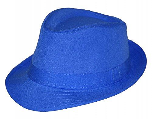 Foxxeo 35266 | Sommer Fedora Hut Panama Strand Gangster Party, Farbe: blau