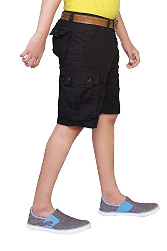 Krystle 6 POCKET BLACK COTTON CARGO SHORTS (34)