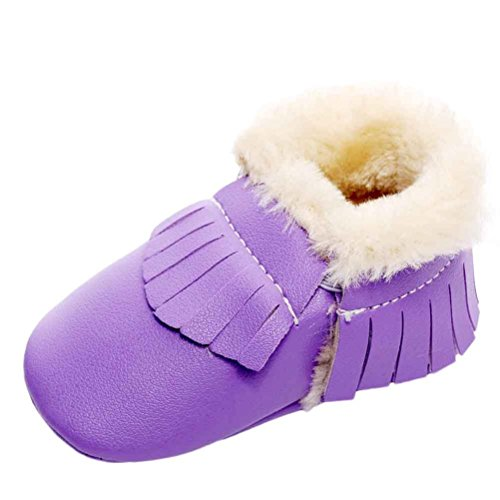 OverDose Unisex-Baby weiche warme Sohle Leder / Baumwolle Schuhe Infant Jungen-Mädchen-Kleinkind -Schuhe 0-6 Monate 6-12 Monate 12-18 Monate Silber 2-PU Leater