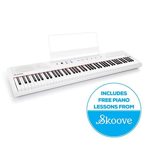 Alesis Recital White - Piano/Teclado digital para principiantes de 88 teclas con...