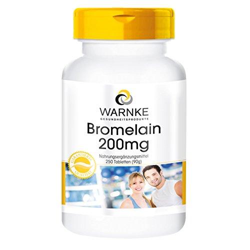 Warnke - Bromelain 200 mg, vegan, 1er Pack (1 x 250 Tabletten) - Bromelain 90 Tabletten