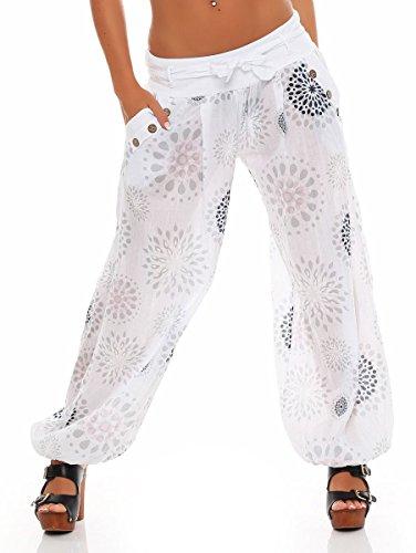 Malito Damen Pumphose mit Print | leichte Stoffhose inkl. Gürtel | Bequeme Freizeithose | Haremshose - lässig 3481 (weiß)