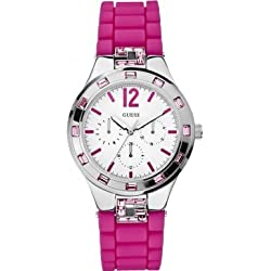 Guess W10615L2 Sparkler-Women's Quartz Analogue Watch-Pink Rubber Strap and White Dial