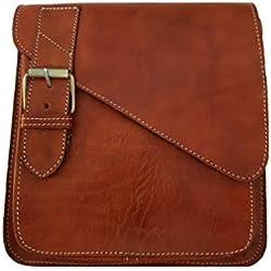bolso bandolera de cuero para hombre color marrón fabricación artesanal tamaño 27*alto 24*largo 9*ancho cm