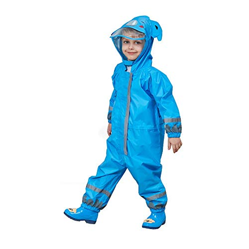 E-CHENG Kids One-Piece Rain Suit, Children's Waterproof Rain Coat, Non-Toxic Material Rainwear (Blue) One Piece Rainsuit