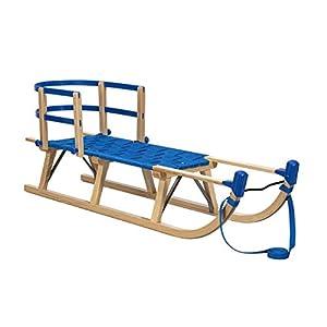 Impag® Davos-Schlitten mit Gurtsitz 115 cm | 125 cm lang | europäisches Buche Massivholz | Sport-Qualität (blau)