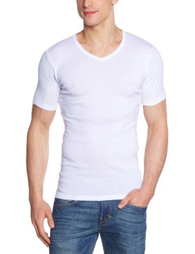 HERMKO 16488 3er Pack Herren Business Shirt mit V-Neck aus Baumwolle/Modal, Farbe:weiß, Größe:D 5 = EU M