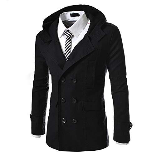 AOWOFS Herren Trenchcoat mit Kapuze Kurz Regular Fit Mantel Jacke für Frühling Sommer Herbst