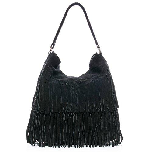 BACCINI® Beuteltasche SAMIRA - Damen Schultertasche groß Ledertasche - Hobo Bag mit Fransen Damentasche echt Wildleder schwarz (Bag Schulter Große Hobo)