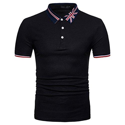 ASHOP Herren Poloshirt Lässige Sommer Flag Print Muscle Pullover Kurzarm Shirt Top Bluse (M, Schwarz)