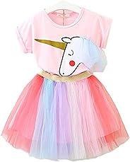 Lee Little Angel Bambina Unicorno Casual Pizzo soffice Abito Top T-Shirt Arcobaleno Gonna (1-9 Anni) (90-140cm