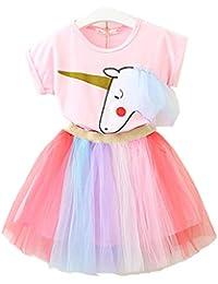 Lee Little Angel Bambina Unicorno Casual Pizzo soffice Abito Top T-Shirt Arcobaleno Gonna (1-7 Anni) (90-130cm)