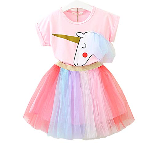 Kleines Mädchen Einhorn lässig Spitze Flauschiges Kleid Top T-Shirt + Regenbogenrock (6-7 Jahre alt, Rosa) (Kleine Mädchen Angel Kostüm)