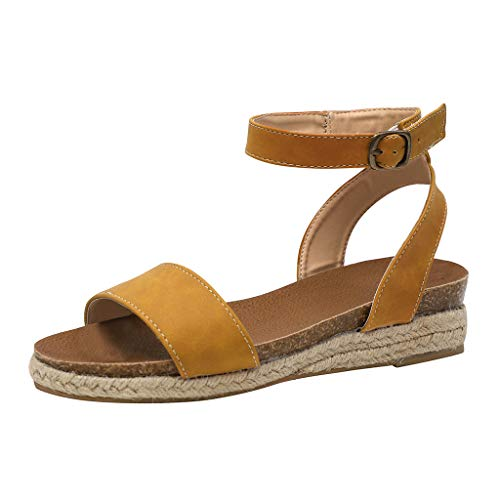 Frauen beschuht Plattfor msommer Sandalen liusdh,Women's Ladies Strap Ankle Buckle Flatform Wedges Woven Sandals Roman Shoes(YE,41) -
