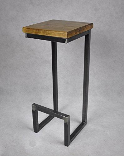 Magnetic Mobel® Barhocker Stahl Holz massiv C-Style Barstuhl Industrial Design Metall Hocker H 78 cm (Eiche)
