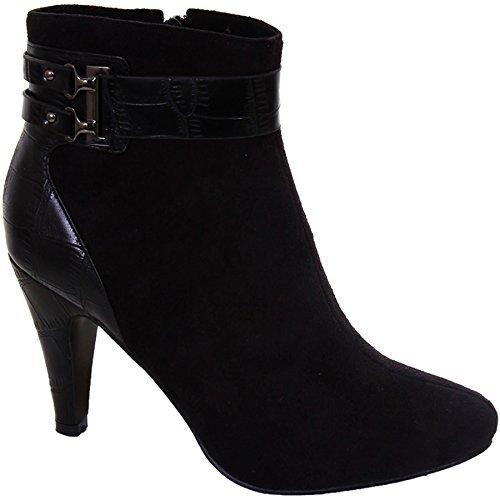 Talon fermeture Chaussures FANTASIA Pour M Cheville Bottes Daim Bride éclair Cuir Noir BOUTIQUE femmes À Faux Femmes côté CBqvw