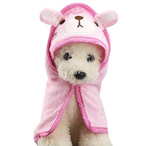 AiSi Haustier Hund Weiche Badetuch mit Kapuzen, Badezubehör für Hund, Cartoon süßer Bademantel, Saugfähige Badetuch, Bärchen Muster, Rosa