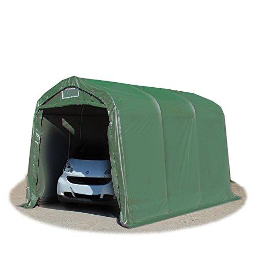 TOOLPORT Garagenzelt Carport 2,4 x 3,6 m in dunkelgrün Weidezelt Unterstand Lagerzelt mit 550 g/m² PVC Plane und Stabiler Stahlrohrkonstruktion