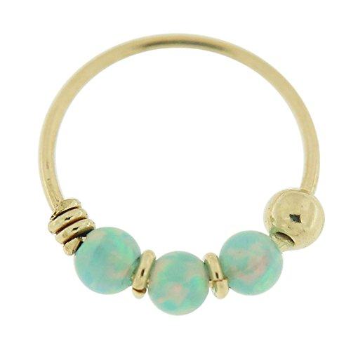 9K Gelb Gold dreifach helle grüne Opal Perlen 22 Gauge Hoop Nasenring Nase Piercing