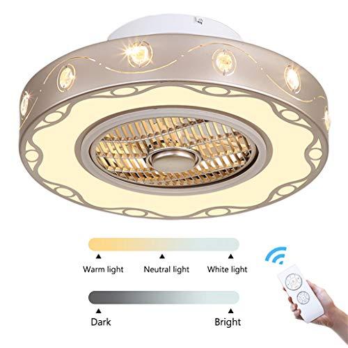 LED unsichtbare Deckenventilator Licht Schlafzimmer Esszimmer Wohnzimmer Lampe Ventilator mit Fernbedienung Deckenventilator Licht moderne minimalistische Deckenleuchte mit Ventilator,60cm