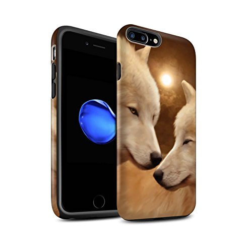Officiel Elena Dudina Coque / Matte Robuste Antichoc Etui pour Apple iPhone 7 Plus / Cleopatra/Serpent Doré Design / Les Animaux Collection Loups Blancs