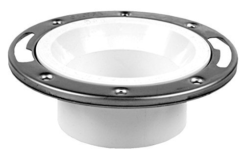 Oatey 43495 3-Inch x 4-Inch PVC Closet Flange without Test Cap with Stainless Steel Ring, 3-Inch x 4-Inch by Oatey - Flush Inside Mount