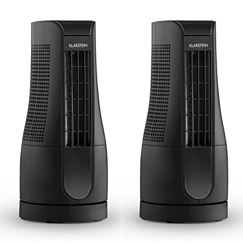 Klarstein Skyscraper Office Tischventilator Säulenventilator (2er Set, 16 Watt, 2 Geschwindigkeitsstufen, Touch-Bedienung, geräuscharm, Timer, Turm-Design) schwarz